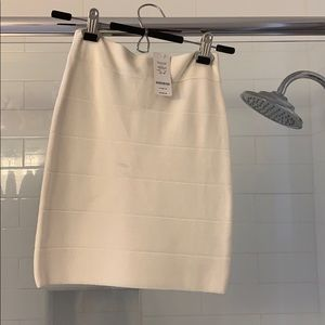 Bebe White/Cream Bodycon Skirt
